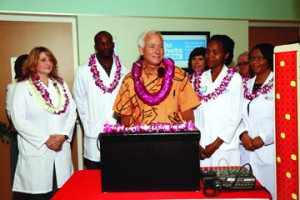 Hawaiian dignitaries joined officials from CVS Caremark to celebrate the opening of the first of seven MinuteClinic locations to open inside select Longs Drugs stores on Oahu in 2013. The grand opening event included a traditional maile lei untying and a blessing ceremony.