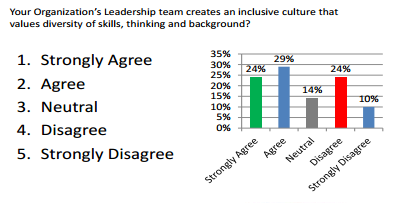 graph survey results for question regarding how leadership supports diversity and inclusion.