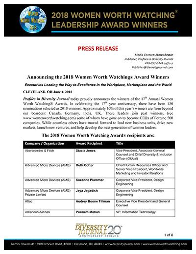 2018 Women Worth Watching Leadership Award Winners Press Release
