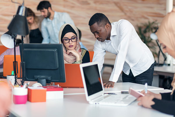Multiracial contemporary business people working