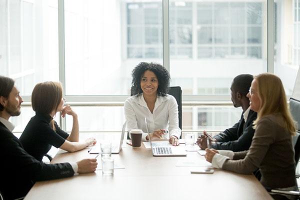 Corporate diverse team meeting